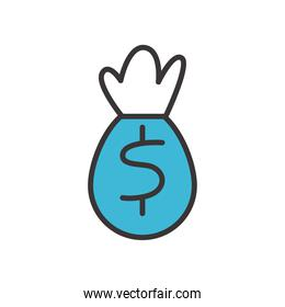 money bag line and fill style icon vector design