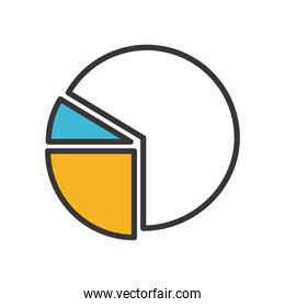 infographic pie chart line and fill style icon vector design
