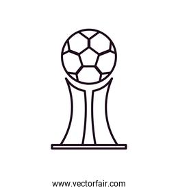 Soccer ball trophy line style icon vector design