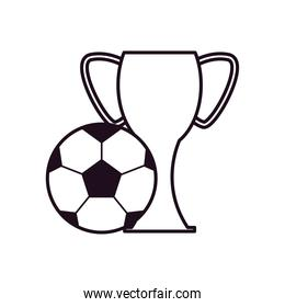 Soccer ball and trophy line style icon vector design