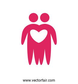Couple of avatars persons with heart flat style icon vector design