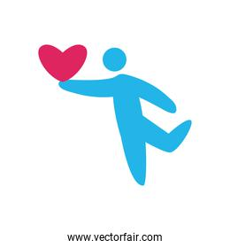 Avatar person with heart flat style icon vector design