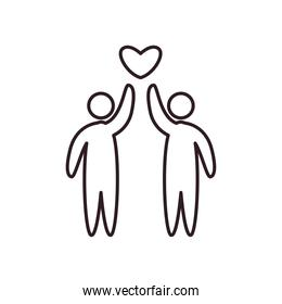 Couple of avatars persons with heart line style icon vector design