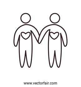 Couple of avatars persons with hearts line style icon vector design