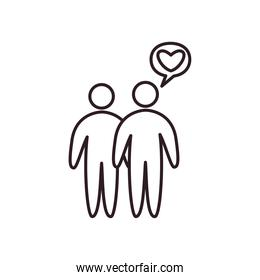 Couple of avatars persons with heart bubble line style icon vector design