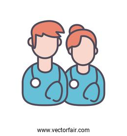 male and female doctor line and fill style icon vector design