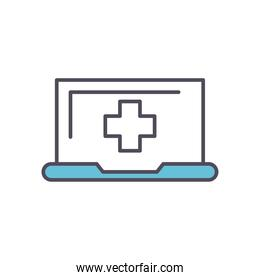 laptop with cross line and fill style icon vector design