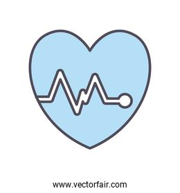 heart pulse line and fill style icon vector design