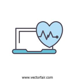heart pulse and laptop line and fill style icon vector design