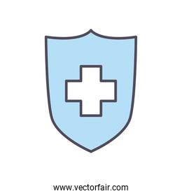 shield with cross line and fill style icon vector design