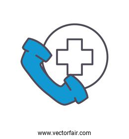 phone with cross line and fill style icon vector design
