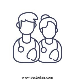 male and female doctor line style icon vector design