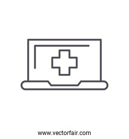 laptop with cross line style icon vector design