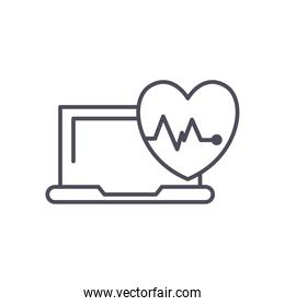 heart pulse and laptop line style icon vector design