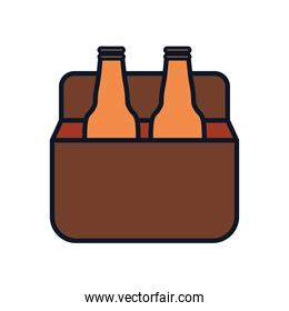 box with beer bottles icon, line fill style