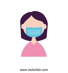 woman with medical mask icon, flat style