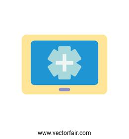 monitor with medical emergency cross icon on screen, flat style