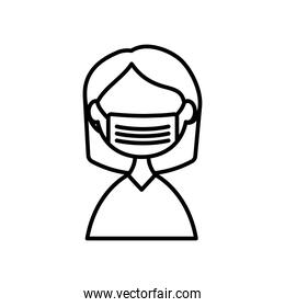 woman with medical mask icon, line style