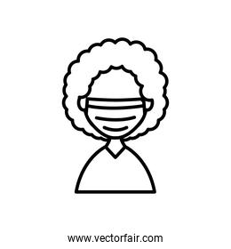 avatar woman with medical mask icon, line style
