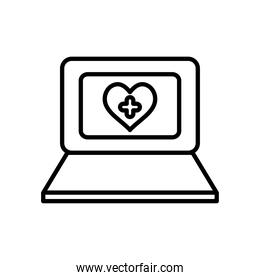 laptop computer with heart with medical cross on screen, line style
