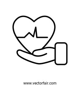 hand with cardio heart icon, line style