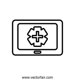 monitor with medical emergency cross icon on screen, line style
