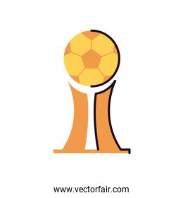 Soccer ball trophy line and fill style icon vector design