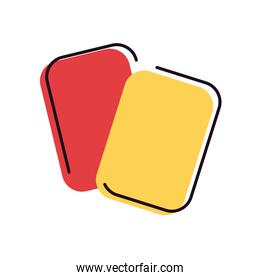 Soccer red and yellow card line and fill style icon vector design