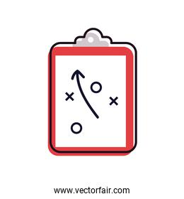 Soccer strategy line and fill style icon vector design