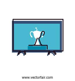 Soccer trophy on tv line and fill style icon vector design