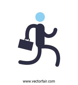 Businessman with suitcase flat style icon vector design