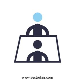 businessmen meeting on table flat style icon vector design