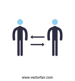 Social distancing between avatars flat style icon vector design