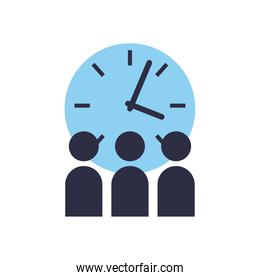 Corporate businessmen with clock flat style icon vector design
