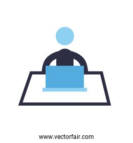 Businessman with laptop flat style icon vector design