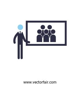 Businessman with screen flat style icon vector illustration