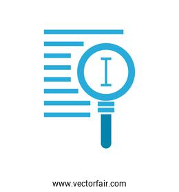 text edit cursor line inside lupe flat style vector design