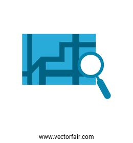 lupe with map flat style icon vector design