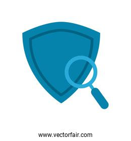 lupe with shield flat style icon vector design