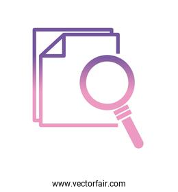 lupe with documents gradient style icon vector design