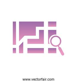 lupe with map gradient style icon vector design