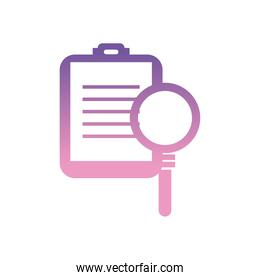 lupe with document gradient style icon vector design