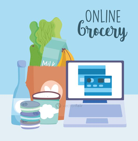 online market, computer ordering bank credit card ingredients, food delivery in grocery store