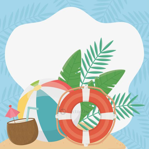 summer travel and vacation lifebuoy beach ball coconut cocktail foliage tropical