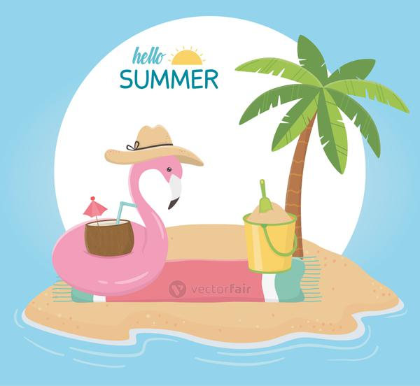 summer travel and vacation float flamingo with hat bucket cocktail in towel