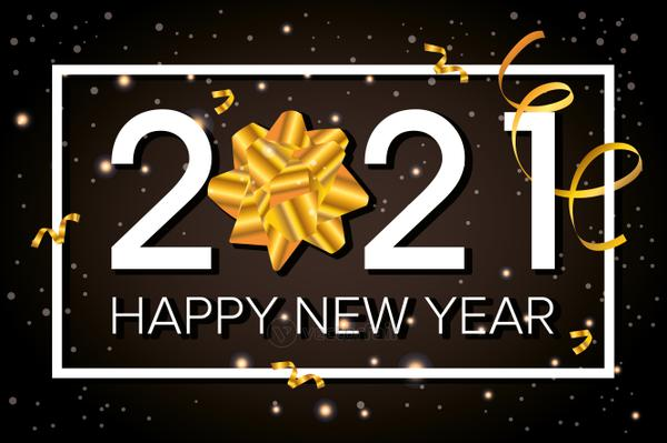 happy new year 2021 celebration poster with golden bow