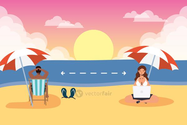 couple on the beach practicing social distancing scene ,summer time vacations