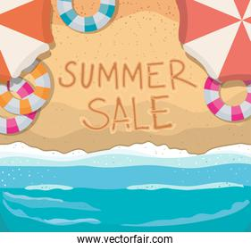 beach with summer sale top view vector illustration