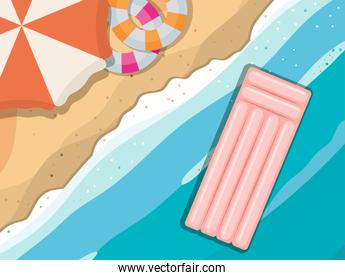 beach with umbrella and floats top view vector design