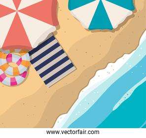 beach with umbrellas floats and towel top view vector design